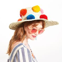 pom pom straw hat from ban.do