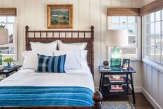 Love the bed, the blue, and of course those lamps, which I have!  -- 1937 cottage in Laguna Beach