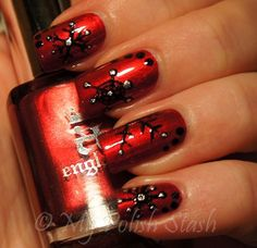 nails - red with black snowflakes