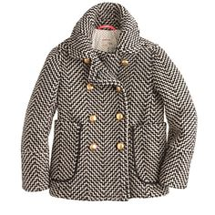 Girls' tweed peacoat