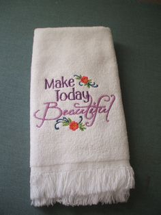 Beautiful Day Embroidered Towel by MillineryMary on Etsy