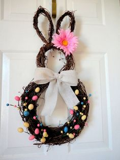 Easter bunny wreath but needs a little more umph :) Easter Party, Easter Wreaths, Easter Crafts, Easter Ideas, Spring Crafts, Easter Bunny, April Easter, Easter Baskets, Holidays And Events