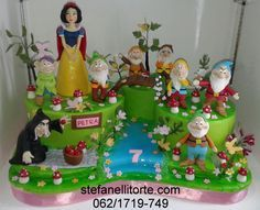 snow white and seven dwarfs cake - Cake by stefanelli torte Snow White Cake, Torte Cake, White Cakes, Character Cakes, Seven Dwarfs, Disney Cakes, Little Cakes, Novelty Cakes, Girl Cakes