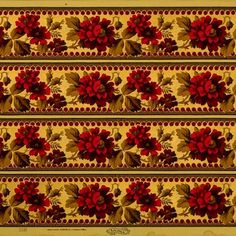 Leafy Sprigs with Deep Red Flowers and Gilt Accents on Embossed Paper # Rolls: of border total) Condition: Very Good Victorian Wallpaper, Antique Wallpaper, Original Wallpaper, Embossed Paper, Borders For Paper, Floral Border, Red Flowers, Bohemian Rug, Rolls