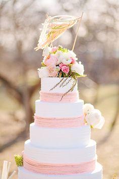 Pink & white celebration cake