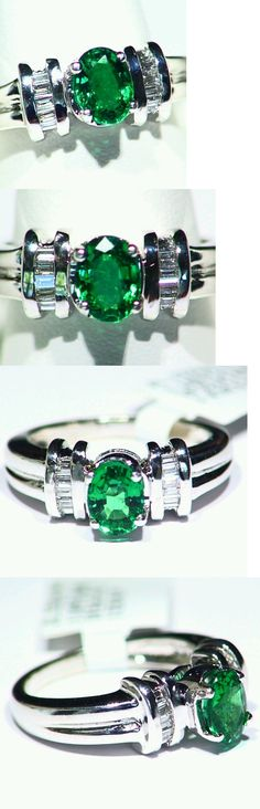 Rings 165014: 1.14Ct 14K Gold Natural Emerald White Cut Diamond Vintage Halo Engagement Ring -> BUY IT NOW ONLY: $2581 on eBay!