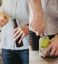"""A multifunctional tool in heavy-duty stainless steel and hardwearing leather, this key keeper also opens bottles and vents cans. The two-prong design pierces aluminum cans with sharp """"fangs,"""" to allow air in while pouring or drinking, reducing the gas you swallow to enhance drinkability of any brew. The stabby parts of the churchkey are housed in a vegetable tanned leather sheath, so nothing gets bitten by the sharp teeth that shouldn't."""