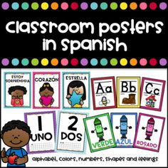 Getting your room ready for school? Check these color posters and useful decor products in Spanish for your classroom. This document includes: Numbers wall 1-30: available in 3 sizes: 4.17 x 6.18 inches, 6.8 x 4.5 inches and 7.5 x 1, inches Colors Wall: 3 sizes: 4.17 x 6.18 inches, 6.8 x 4.5 inches and 7.5 x 1, inches) Colors included: red, orange, yellow, blue, green, pink, purple, brown, white and gray. Feelings (7.5 x 1, inches posters) feliz/happy triste/sad enojado/mad sor...