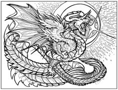 Dragon Adventure: A Kaleidoscopia Coloring Book Free Adult Coloring, Adult Coloring Book Pages, Coloring Book Art, Colouring Pics, Coloring Sheets, Small Dragon Tattoos, Dragon Coloring Page, Colorful Drawings, Sketches