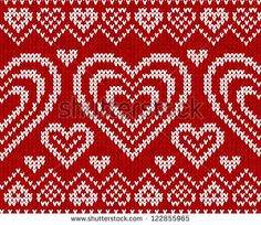 Valentines day red knitted sweater vector seamless pattern by art_of_sun, via Shutterstock Knitting Club, Knitting Charts, Double Knitting, Knitting Stitches, Fair Isle Knitting Patterns, Knitting Designs, Knit Patterns, Stitch Patterns, Embroidery Hearts