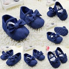 Denim Baby Shoes Girls Bowknot Crib Shoes Soft Sole Prewalker Newborn -N4 = 1929981892 from Bling Bling Deals. Saved to Baby.