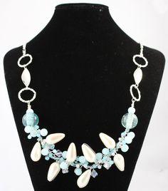 Blue, Silver & Cream Bend & Twist Necklace