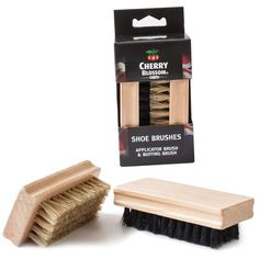 Two brushes in a presentation box. Both brushes feature a stained and varnished black wooden back and soft horsehair bristles. Shoe Polish, Wooden Handles, Brush Set, Your Shoes, Cherry Blossom, Shoe Boots, Trading Company, Pure Products, Yorkshire