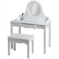 Frenchi Home Furnishing 3 Piece Expresso Vanity Set Make Up Mirror Chair NEW!