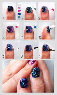 Pretty (Squared): Galaxy Nails - Nail Art Tutorial prettysquared.blogspot.com    #nails #nail art