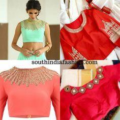Embellished Necklace Blouse Design