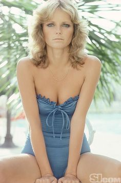 1970s model Cheryl Tiegs in a stapless blue swimsuit from Sports Illustrated.