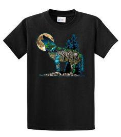 Wolf Howling At The Moon Mens 3D Short-Sleeve T-Shirt