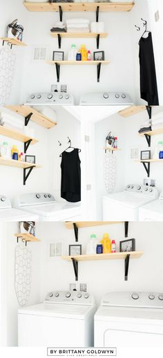 Check out this tiny black and white laundry nook makeover completed for just over $100 // Sherwin-Williams Extra White, Ikea Ekby, DIY iron supplies shelf, DIY pull-down drying rack