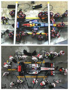 RedBull vs Vodafone in the pits. #F1 #infiniti #mclaren