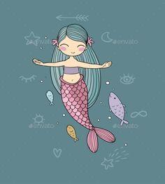 Buy Cartoon Little Mermaid by Chetkova on GraphicRiver. Cute cartoon little mermaid. isolated objects on white background. Illustration Wallpaper, Mermaid Illustration, Cute Illustration, Mermaid Wallpaper Backgrounds, Mermaid Wallpapers, Cute Wallpapers, Trendy Wallpaper, Cute Mermaid, Mermaid Art