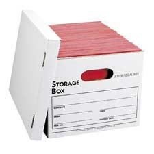 Light-duty storage boxes offer liftoff lids for easy access. Ideal for storing and transporting files. Use boxes to store letter-size or legal-size files. Each box offers a 350 lb. stacking weight and contains 65 percent recycled material.