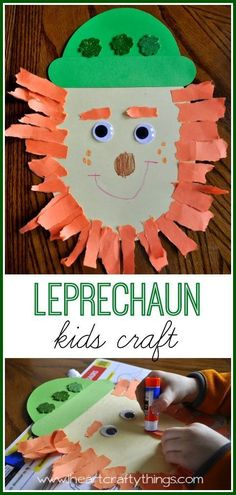Leprechaun Kids Craft for St. Patrick's Day. Make a Leprechaun beard by tearing up orange construction paper. | from http://iheartcraftythings.com