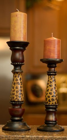 Leopard candle holders