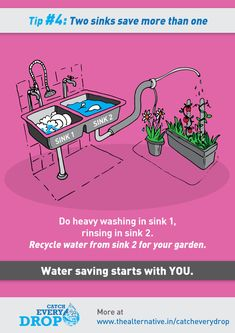 wash in sink 1, rinse in sink 2 and then use rinse water for your plants