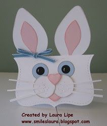 Easter card from Smiles, Laura ... Shaped card ... blue eyed bunny card ... punch art styling ... Stampin' Up!