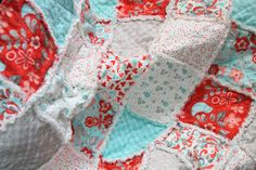 Crib Rag Quilt Baby Girl Crib Bedding Moda Flirt Gray Aqua Red Nursery Ready To Ship. $109.00, via Etsy.