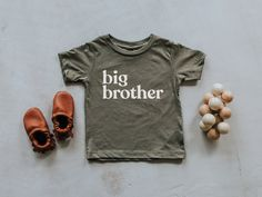 Mom Memes Discover Big Brother Olive Green Baby & Kids T-Shirt Unique Trendy Graphic Tee for Brothers Super Soft Matching Brother Tri-Blend Tees Baby Girl Shirts, New Kids, Kids Up, Baby Kids, Baby Boy, Graphic Tees, T Shirts For Women, Modern Typeface, White Ink