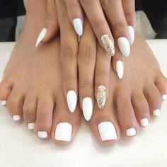 white nail polish gold