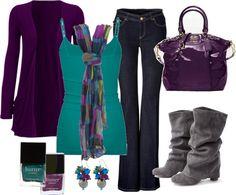 Azul, morado y gris, que gran outfit, la combinacion de colores esta genial...