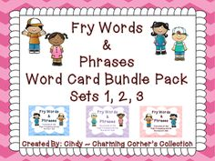 Fry Word Wall Bundle Sets 1, 2, 3 Words 1 - 300 from Charming Corner's Collection on TeachersNotebook.com -  (298 pages)  - Fry Word Wall Cards ~ Words and Phrases 1 - 100.  This Bundle is great for helping your students with their fluency.