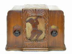 Jackson Bell Peter Pan Art Deco Wood Case Am Tube Radio Works Great NR