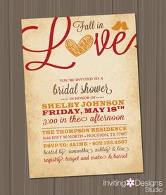 fall bridal shower invitation love birds by invitingdesignstudio 1800 fall wedding diy wedding