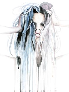Enough - contemporary dripping watercolor portrait painting by defectivebarbie