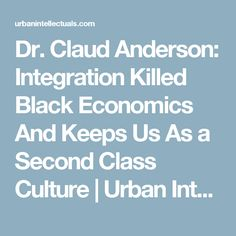 Dr. Claud Anderson: Integration Killed Black Economics And Keeps Us As a Second Class Culture   Urban Intellectuals