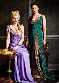 "Viva Bianca & Lucy Lawless in ""Spartacus: Vengeance"" X - Rom und Spartacus - Science Medieval Dress, Spartacus Women, Roman Dress, Greek Dress, Rome Antique, Fairytale Fashion, Romantic Outfit, Cosplay Outfits, Designer Dresses"