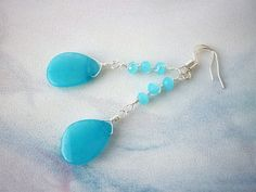Bimm-bamm a long azure blue agate gemstone earring with