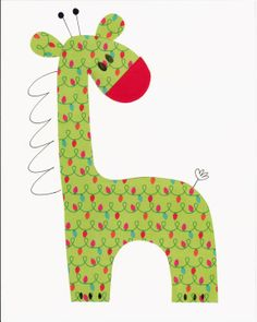 Green and Red Christmas Giraffe Nursery Artwork Print // Baby Room Decoration // Christmas Decoration // Gifts Under 20