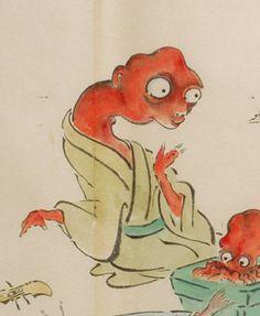 """首 赤 蛸;Kubi aka tako"" from ""化物尽絵巻;Bakemono zukushi Emaki"" by 北斎季親;Hokusai-Suechika"