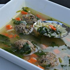 California Italian Wedding Soup This is my variation of a standard recipe. I like fresh basil and a little lemon rind, so those are basically my only changes. This is a quick and easy soup with flavors that impress all. Giada De Laurentiis, Bowl Of Soup, Soup And Salad, Food Network, Parmesan, Soup Recipes, Cooking Recipes, Recipies, Caldo De Res
