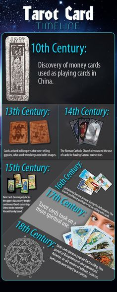 A deck of #tarot cards is an interesting object containing colourful images used to determine a person's career, life, and romantic vibes. These cards may be dubious divination pieces, but they have not survived religious censure for nothing. Below is a general tarot card timeline that shows how these cards have evolved through use and alterations. #TarotCardTimeline