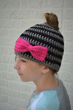 Messy Bun/Ponytail Hat in Stripes with Bright Pink Bow for All Messy Bun, Bright Pink, Ponytail, Crochet Hats, Stripes, Bows, Etsy Shop, Trending Outfits, Unique Jewelry