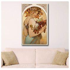 Canvas Repro Fruit By Alphonse Mucha decor Art fine by MyArtCanvas