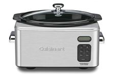 Cuisinart PSC-650 6-1/2-Quart Crockpot Useful for set it and a forget it meals where you place all the items into the crockpot and let it rip! Most crockpots use a ceramic, dishwasher safe bowl that's heated from the outside to a low temperature which allows the ingredients to simmer for hours.