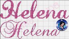 Resultado de imagem para nome helena em ponto cruz Cross Stitch Alphabet, Girl Names, Neon Signs, Embroidery, Embroidered Towels, Proper Nouns, First Time Moms, Cross Stitch Letters, Monogram Alphabet