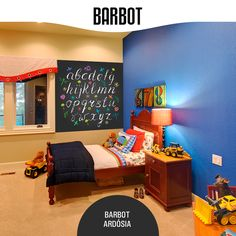 Combine tons improváveis e reserve parte de uma parede para pintar com Barbot Ardósia. Um ambiente alegre e divertido que vai fazer as alegrias do pequerrucho! www.barbot.pt